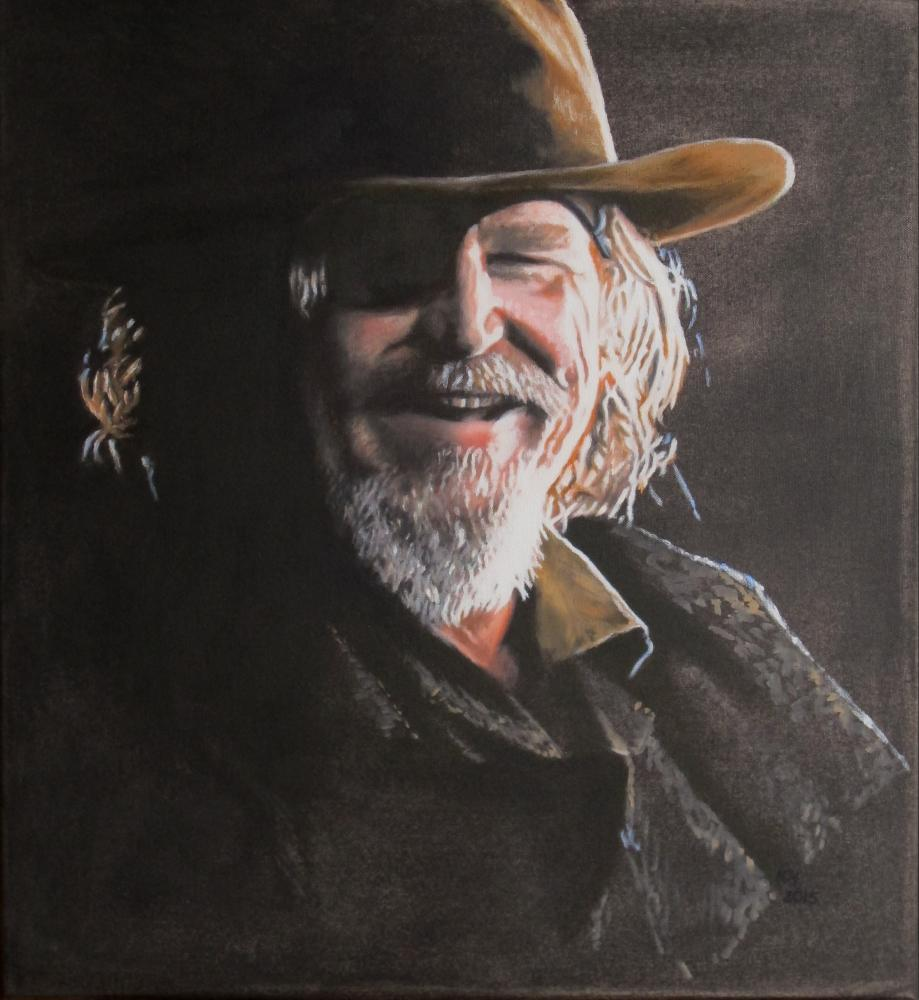 painting in acrylic and oil entitled Jeff Bridges als Marshal Cockburn