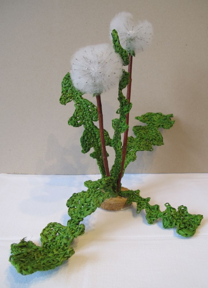 object from bast fiber, wooden picks, wire, needles and cotton wool entitled Pusteblume